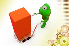 3d frog hand truck illustration Stock Photos