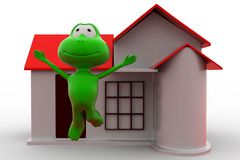 3d frog happy with home icon concept Stock Photography
