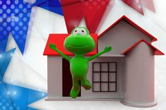 3d frog happy with home icon illustration Royalty Free Stock Images