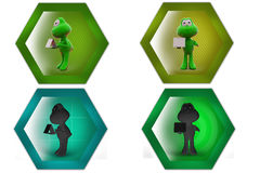 3d frog holding calendar icon Stock Images