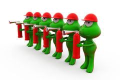 3d frog holding fire extinguish concept Royalty Free Stock Photo