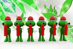 3d frog holding fire extinguish illustration Stock Photography