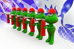 3d frog holding fire extinguish illustration Stock Images