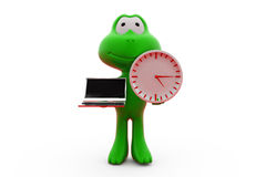 3d frog holding laptop and clock concept Stock Photography