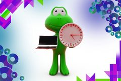 3d frog holding laptop and clock  illustration Stock Image