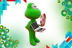 3d frog holding laptop and clock  illustration Royalty Free Stock Images