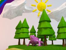3d frog inside a low-poly green scene Stock Photography