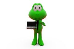 3d frog with laptop concept Royalty Free Stock Photo