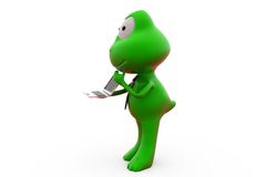 3d frog with laptop concept Stock Photo