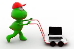 3d frog laptop on hand truck concept Royalty Free Stock Photos