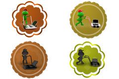 3d frog laptop in hand truck icon Stock Photo