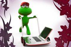 3d frog laptop on hand truck  illustration Stock Photography
