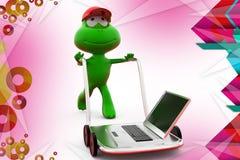 3d frog laptop on hand truck illustration Stock Photo