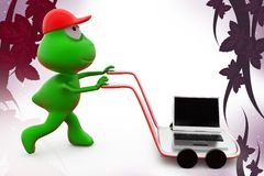 3d frog laptop on hand truck  illustration Royalty Free Stock Images
