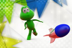 3d frog launch  illustration Royalty Free Stock Image