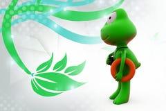 3d frog lifegaurd  illustration Stock Photography