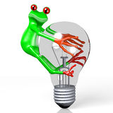 3D frog with a light bulb Royalty Free Stock Image