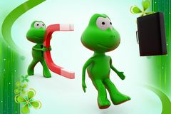 3d frog with magnet illustration Royalty Free Stock Photos