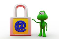3d frog mail lock concept Royalty Free Stock Photos