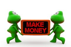 3d frog make money concept Royalty Free Stock Photography