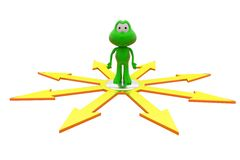3d frog many paths concept Royalty Free Stock Images