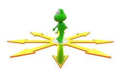3d frog many paths concept Stock Photo