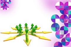 3d frog many paths illustration Stock Photo