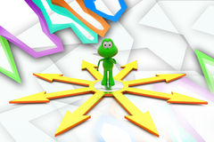 3d frog many paths illustration Stock Images
