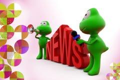 3d frog news speaker illustration Stock Images