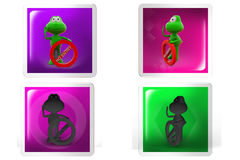 3d frog no entry concept icon Royalty Free Stock Images