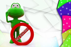 3d frog no entry illustration Stock Photos
