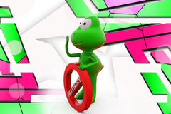 3d frog no entry illustration Royalty Free Stock Photo