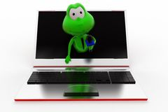 3d frog online interview concept Royalty Free Stock Photography