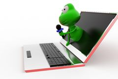 3d frog online interview concept Royalty Free Stock Photo