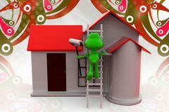 3d frog paint home  illustration Royalty Free Stock Image