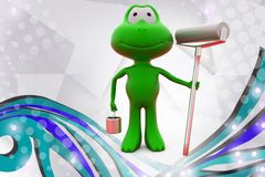 3d frog with paint roll  illustration Stock Photography