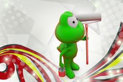 3d frog with paint roll  illustration Royalty Free Stock Image