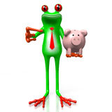 3D frog with a piggybank Stock Photography