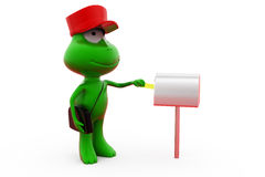 3d frog postman concept Stock Images
