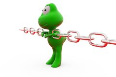 3d frog pull chain concept Royalty Free Stock Photos