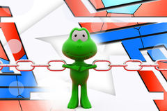 3d frog pull chain illustration Royalty Free Stock Photos