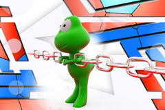 3d frog pull chain illustration Royalty Free Stock Photography