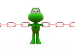 3d frog pull chains concept Royalty Free Stock Photos
