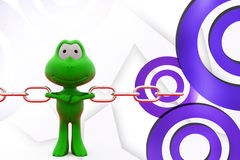 3d frog pull chains illustration Royalty Free Stock Photos