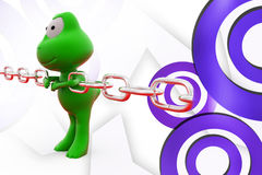 3d frog pull chains illustration Stock Image