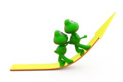 3d frog push on arrow concept Stock Image
