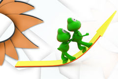 3d frog push on arrow illustration Royalty Free Stock Photography