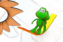 3d frog push on arrow illustration Royalty Free Stock Images