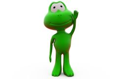 3d frog raise one hand concept Stock Photos