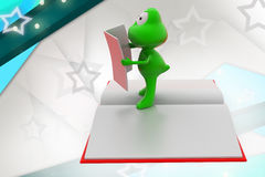 3d frog read illustration Royalty Free Stock Photo